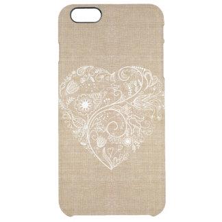 Hjärta för linneburlapblomma clear iPhone 6 plus skal