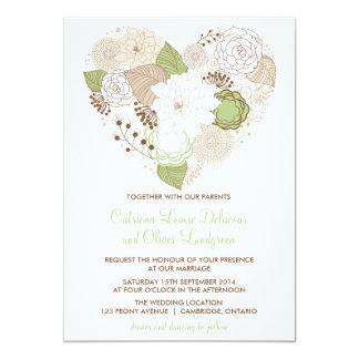Hjärta för Mintgröntvåren blommar bröllopinbjudan 12,7 X 17,8 Cm Inbjudningskort
