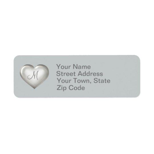 Hjärta för Monogramsilverexponeringsglas Returadress Etikett