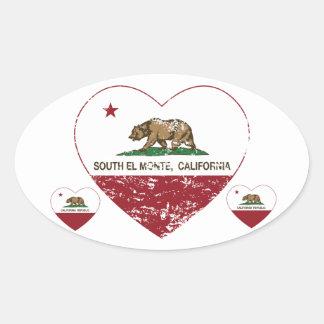 hjärta för monte för el för Kalifornien flagga Ovalt Klistermärke