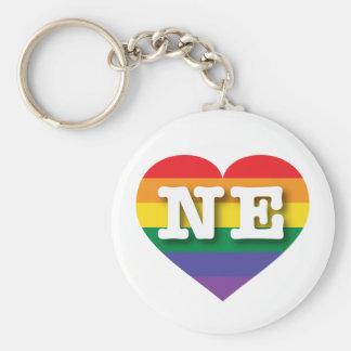 Hjärta för Nebraska gay prideregnbåge - stor Rund Nyckelring