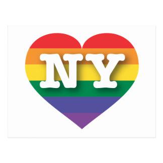 Hjärta för New York gay prideregnbåge - stor Vykort