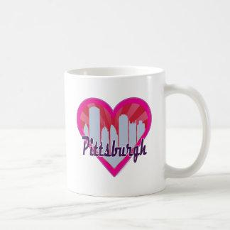 Hjärta för Pittsburgh horisontSunburst Kaffemugg