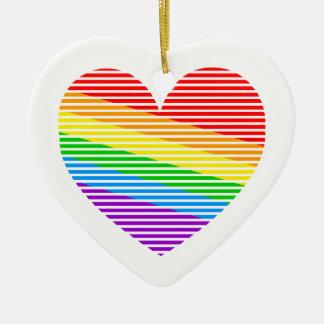 Hjärta för rand för regnbåge för Corey tiger80-tal Hjärtformad Julgransprydnad I Keramik