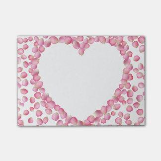 Hjärta för rosa rospetals Posta-honom Post-it Block