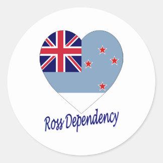 Hjärta för Ross beroendeflagga Runt Klistermärke