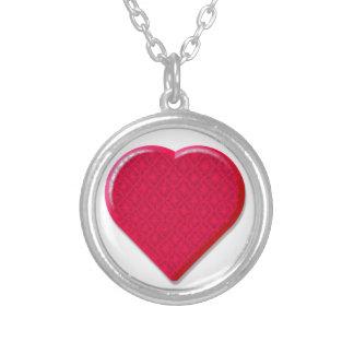 hjärta för snöre 3D Silverpläterat Halsband