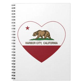 hjärta för stad för Kalifornien flaggahamn Anteckningsbok Med Spiral