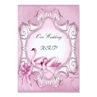 Hjärta för svanar för OSAelegant bröllop rosa 8,9 X 12,7 Cm Inbjudningskort