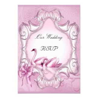Hjärta för svanar för OSAelegant bröllop rosa Inbjudningskort