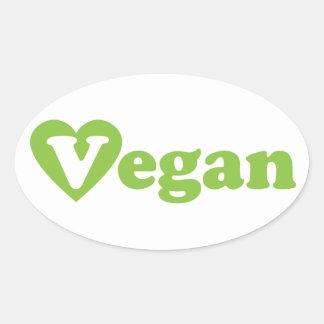 Hjärta för Vegantextgrönt Ovalt Klistermärke