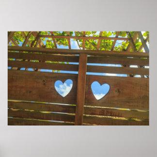 Hjärta formar i ett staket, Belize Poster