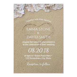 Hjärta i bröllop för Sandsommarstrand 12,7 X 17,8 Cm Inbjudningskort