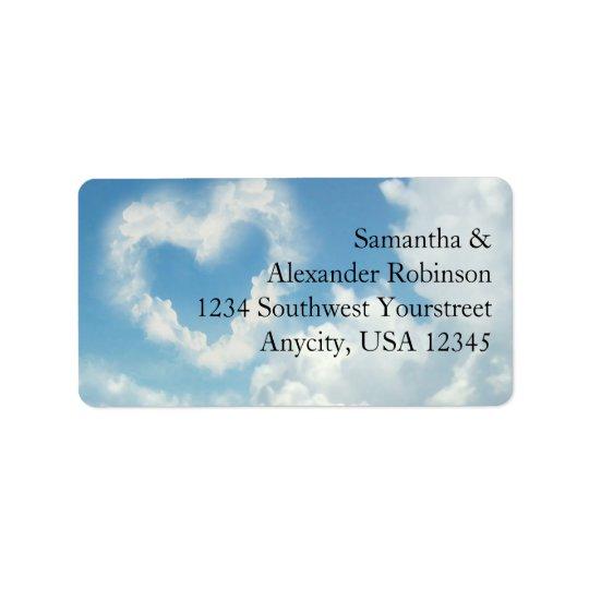 Hjärta i molnen, romantisk kärlek för blå himmel adressetikett
