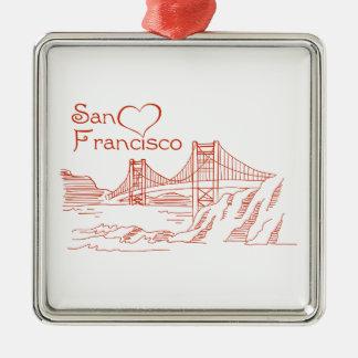 Hjärta i San Francisco Julgransprydnad Metall
