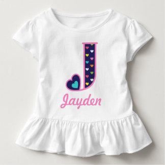 Hjärta initialt J för regnbåge för flickaMonogram Tee