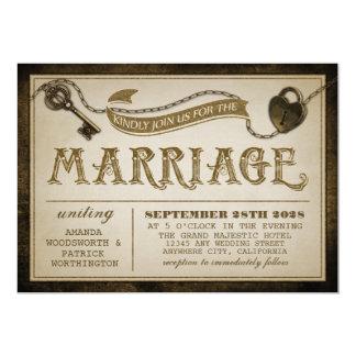 Hjärta låser och nyckel- bröllopinbjudningar för 12,7 x 17,8 cm inbjudningskort
