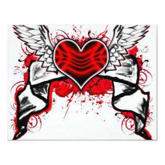 Hjärta med vingar 10,8 x 14 cm inbjudningskort