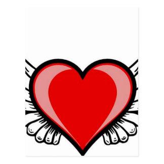 hjärta med vingar vykort