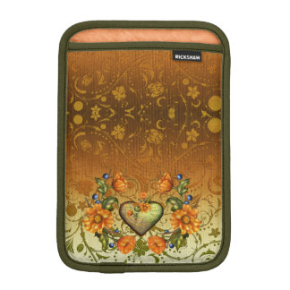 Hjärta och blommor på damast iPad mini sleeve