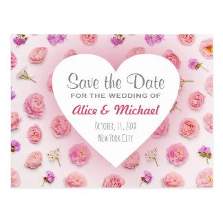 Hjärta och blommor vykort