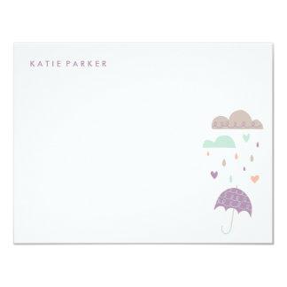 Hjärta- & Raindropsbrevpapper - plommon 10,8 X 14 Cm Inbjudningskort
