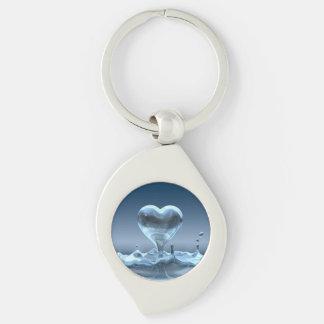 Hjärta tappar nyckelringen swirl silverfärgad nyckelring