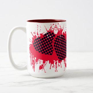 Hjärta två i blod Två-Tonad mugg