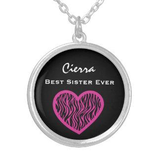 Hjärta V026 för SEBRA för bäst för syster ROSOR Silverpläterat Halsband