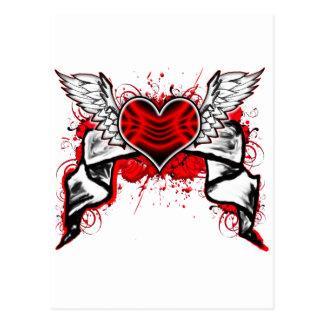 Hjärta & vingar vykort