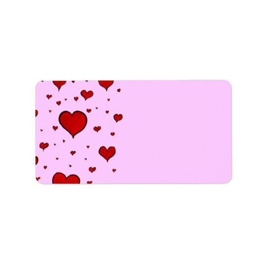 Hjärtaadressetiketter Adressetikett