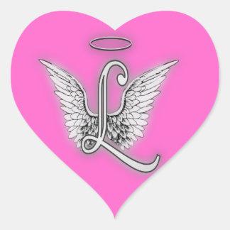 Hjärtaängeln påskyndar monogramen hjärtformat klistermärke