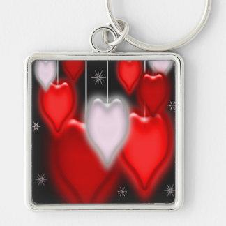 Hjärtabaubles- och snöflingorvalentin dag fyrkantig silverfärgad nyckelring