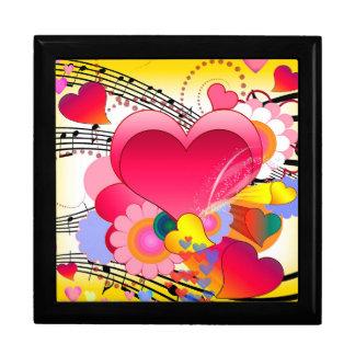 Hjärtablommor och musik noter presentskrin