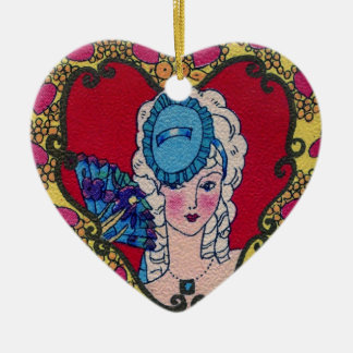 Hjärtadamprydnad Julgransprydnad Keramik