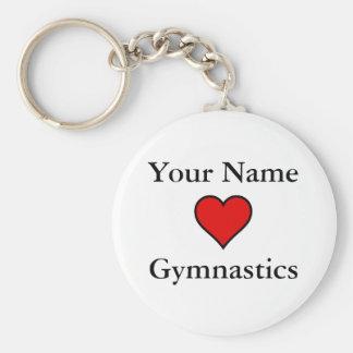 Hjärtagymnastik (för ditt namn) rund nyckelring