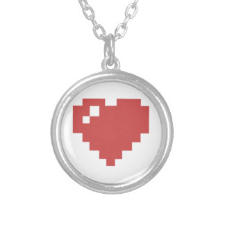 Hjärtahalsband för runda 8bit silverpläterat halsband