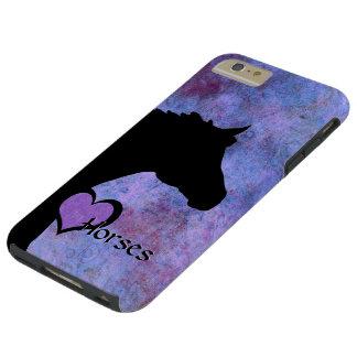Hjärtahästdropp (lila/blått) tough iPhone 6 plus fodral