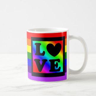 Hjärtakärlek för regnbågen LGBT knäppas Kaffemugg
