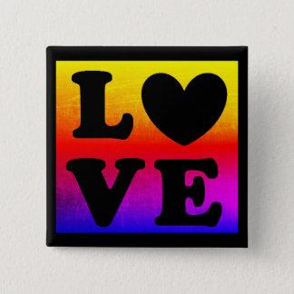 Hjärtakärlek för regnbågen LGBT knäppas Standard Kanpp Fyrkantig 5.1 Cm