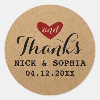 Hjärtakärlek & tack som gifta sig röda runt klistermärke