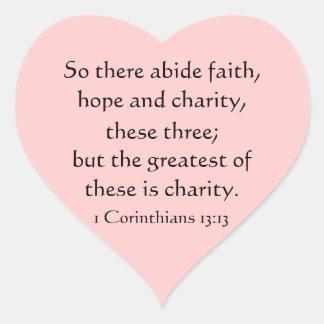 Hjärtaklistermärkear, scripture, tro, hopp, kärlek hjärtformat klistermärke