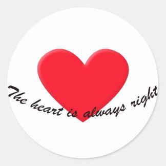 Hjärtan är alltid höger runt klistermärke