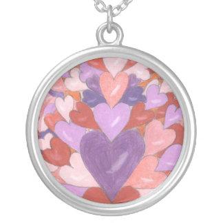 Hjärtan Silverpläterat Halsband