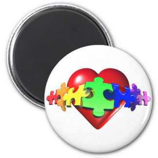 Hjärtapussel anknyter magnet rund 5.7 cm