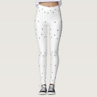 Hjärtarandar på vit leggings