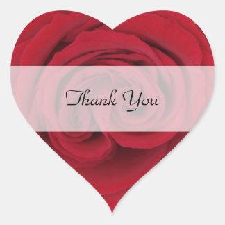 Hjärtatackklistermärkear --  Röd ros Hjärtformat Klistermärke