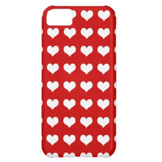 Hjärtavit på rött iPhone 5C fodral