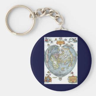 Hjärtformade antik världskarta Apian Peter för Rund Nyckelring