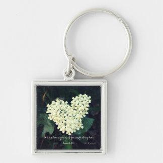 Hjärtformade blommaJeremiah 31:3 Fyrkantig Silverfärgad Nyckelring